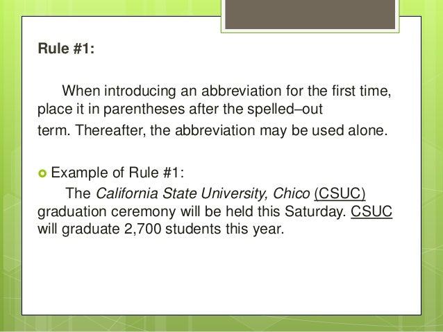 rules of abbreviations