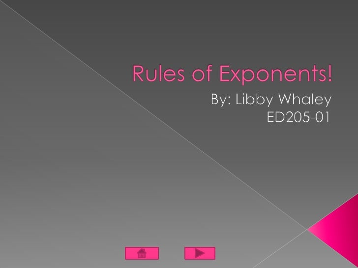 Multiply   Divide  Exponent of Exponent  Negative Exponents  Exponents Video  Authors Page  Resources