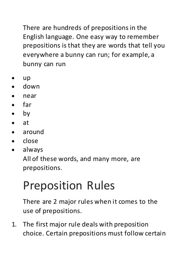 Rules Of Prepositions