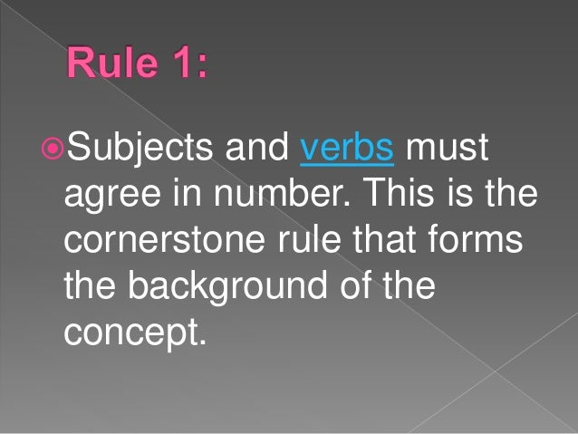 subject verb agreement rules pdf