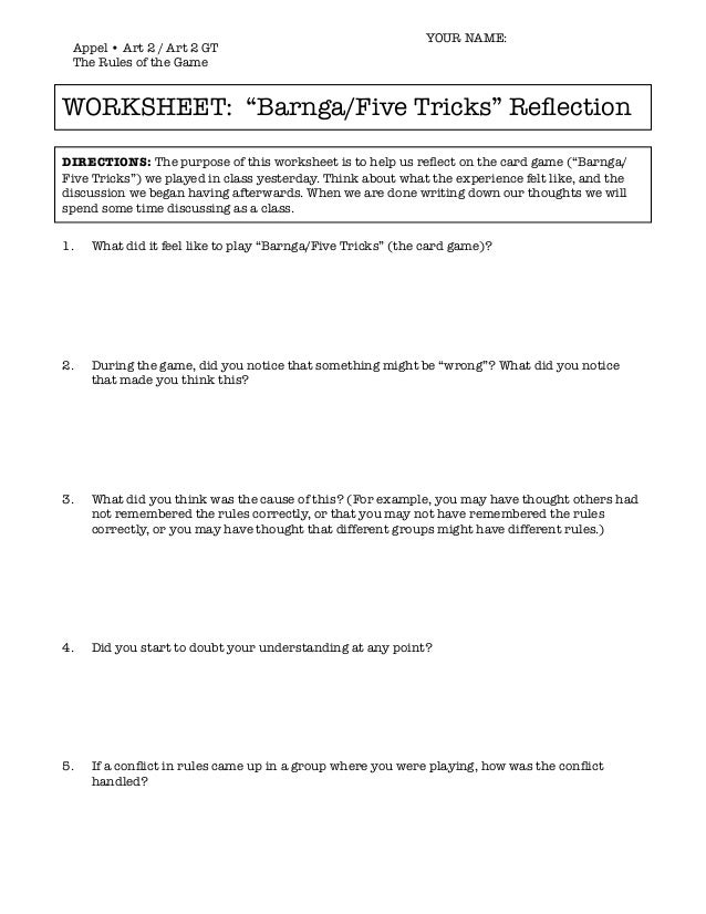Rules of the game worksheet