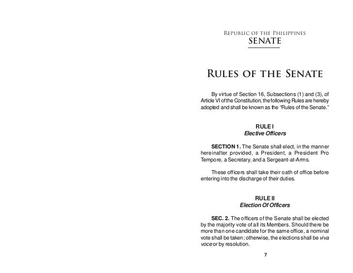 Republic of the Philippines                      SENATE  Rules of the Senate      By virtue of Section 16, Subsections (1)...