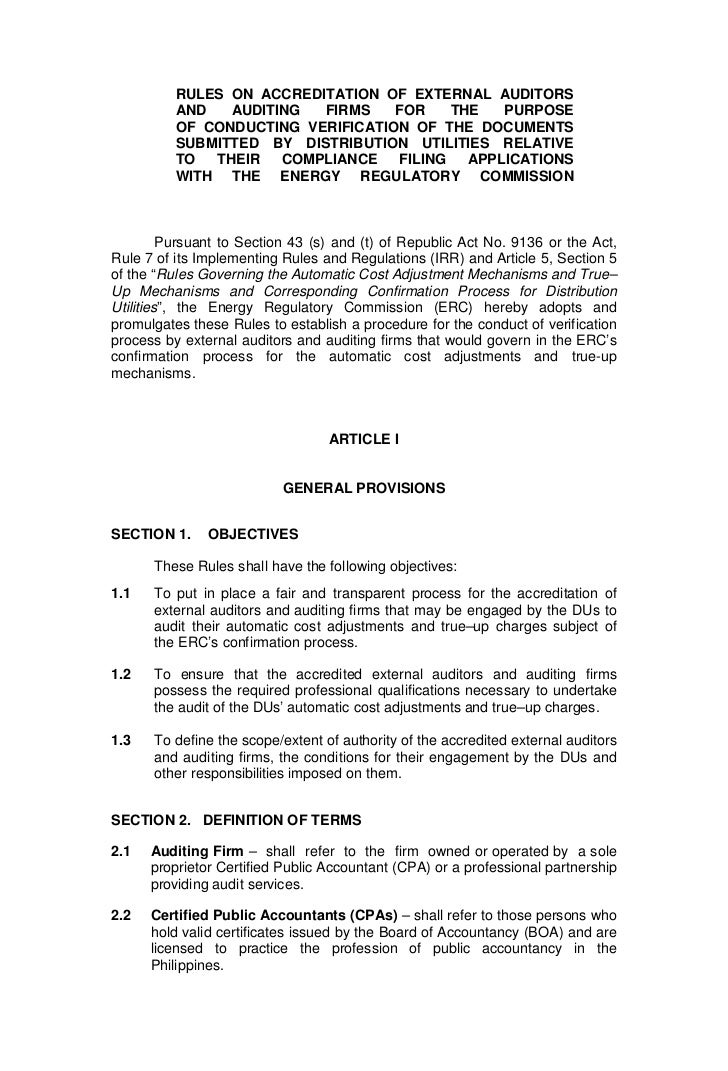 RULES ON ACCREDITATION OF EXTERNAL AUDITORS          AND   AUDITING  FIRMS    FOR    THE   PURPOSE          OF CONDUCTING ...