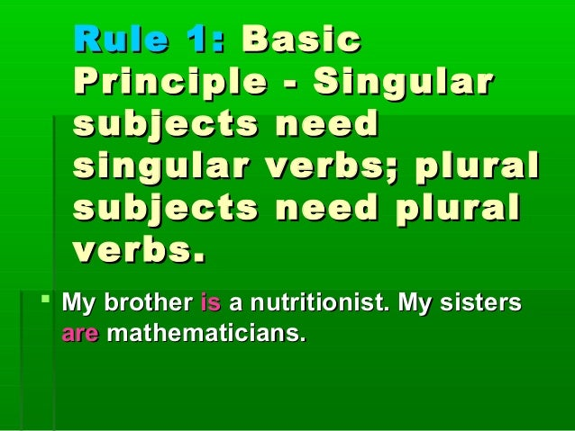 Rules For Subject Verb Agreement