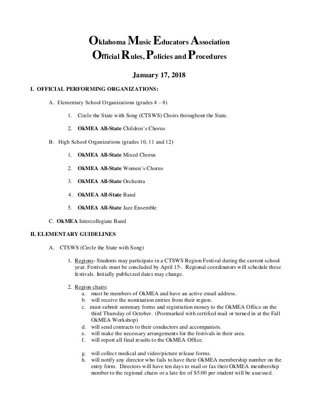 Oklahoma Music Educators Association Official Rules, Policies and Procedures January 17, 2018 I. OFFICIAL PERFORMING ORGAN...