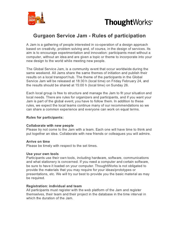Gurgaon Service Jam - Rules of participationA Jam...