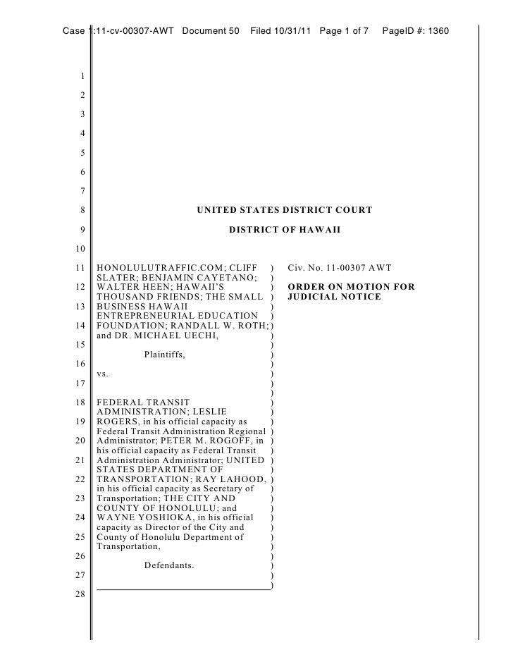 Case 1:11-cv-00307-AWT Document 50         Filed 10/31/11 Page 1 of 7   PageID #: 1360   1   2   3   4   5   6   7   8    ...