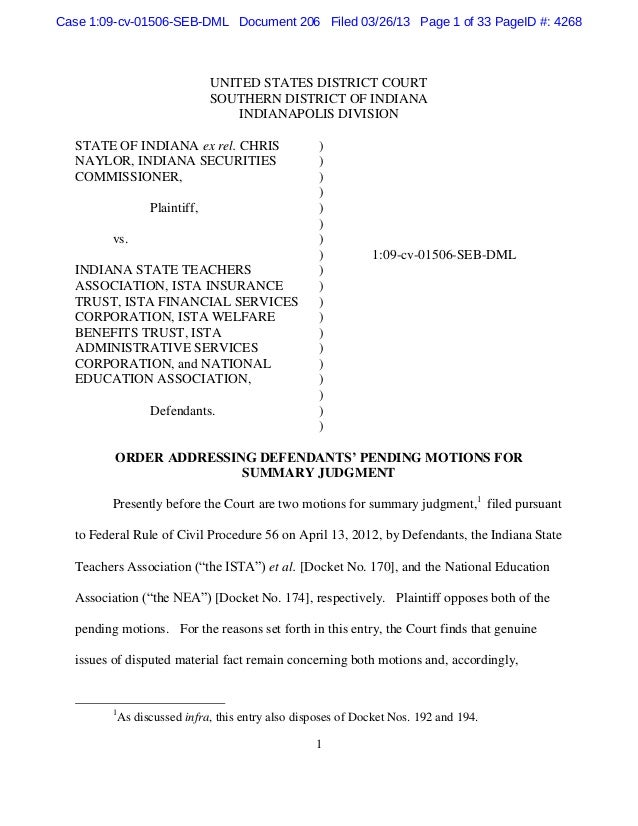 Case 1:09-cv-01506-SEB-DML Document 206 Filed 03/26/13 Page 1 of 33 PageID #: 4268                               UNITED ST...