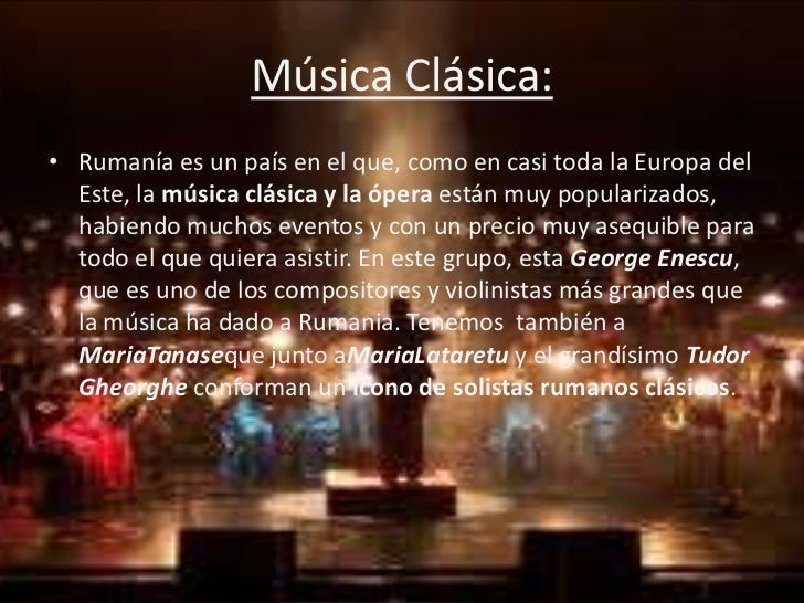 M sica en rumania for Musica clasica para entrenar