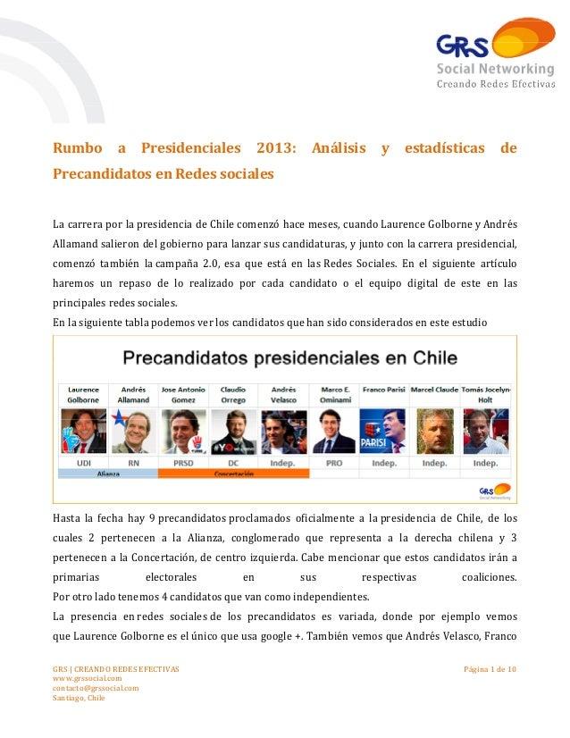 Rumbo         a     Presidenciales          2013:     Análisis      y    estadísticas         dePrecandidatos en Redes soc...