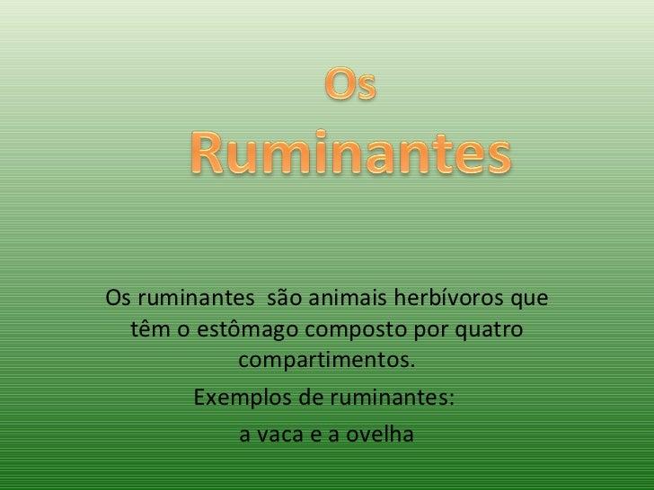 Os ruminantes  são animais herbívoros que têm o estômago composto por quatro compartimentos. Exemplos de ruminantes:  a va...