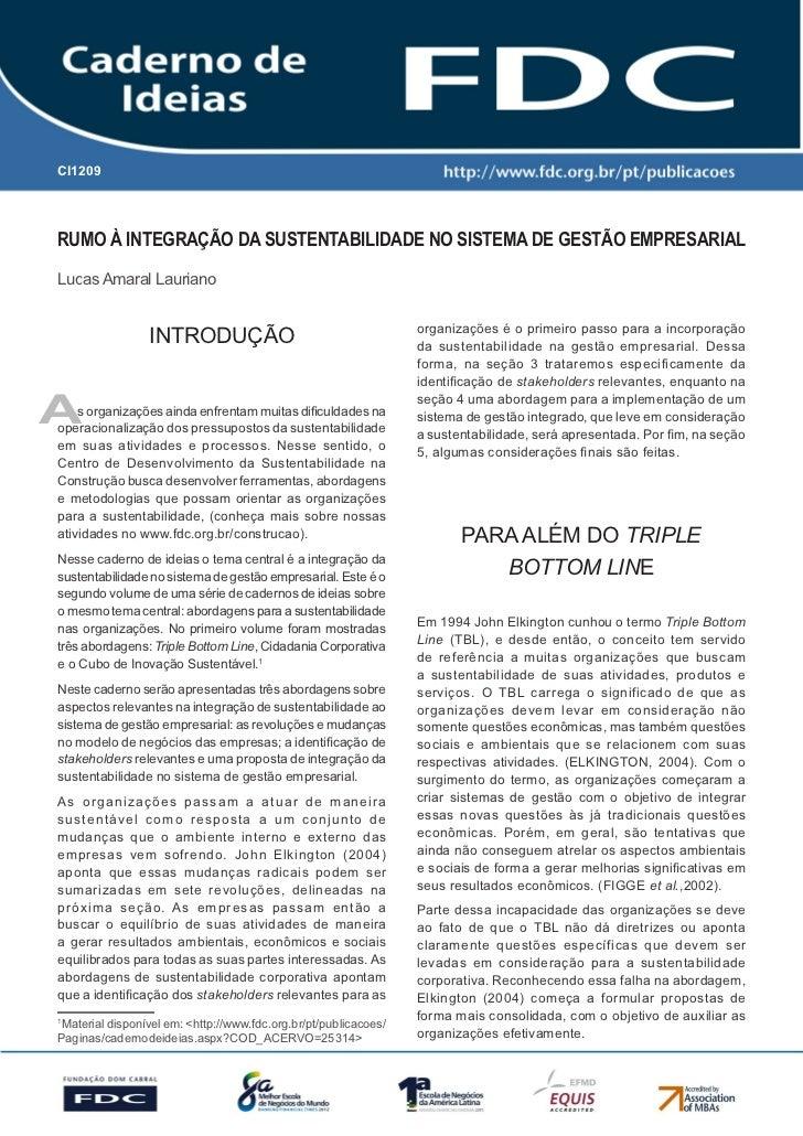 CI1209       Gestão Estratégica do Suprimento e o Impacto no       Desempenho das       Empresas BrasileirasRumo à integra...