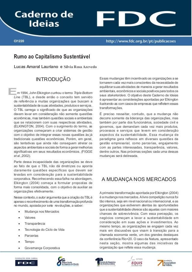Gestão Estratégica do Suprimento e o Impacto no Desempenho das Empresas Brasileiras Rumo ao Capitalismo Sustentável CI1220...