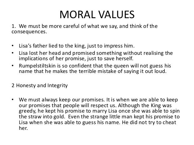 Rumpelstiltskin moral value essay