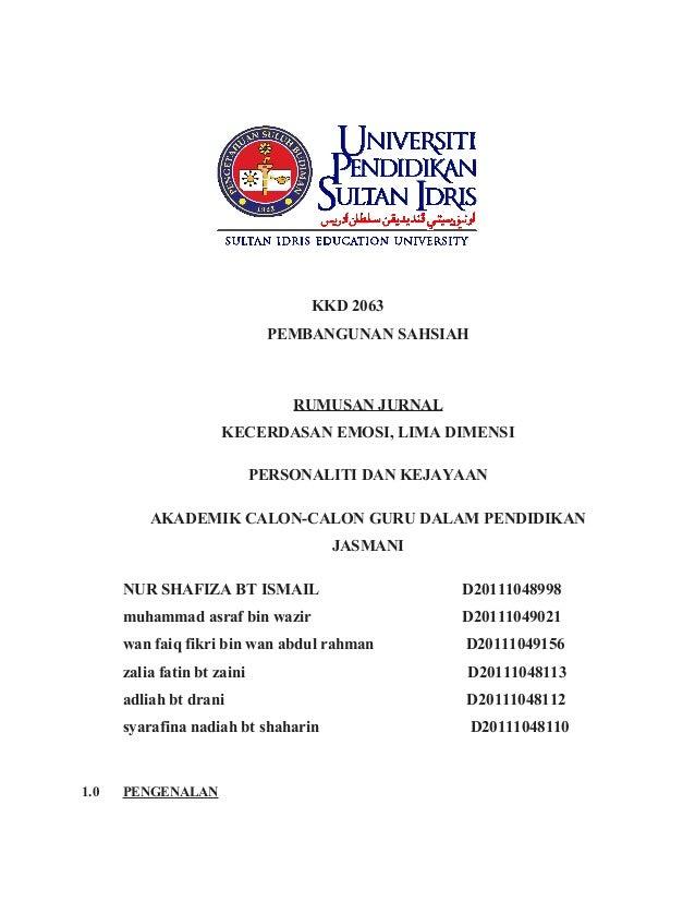 KKD 2063                              PEMBANGUNAN SAHSIAH                                 RUMUSAN JURNAL                  ...