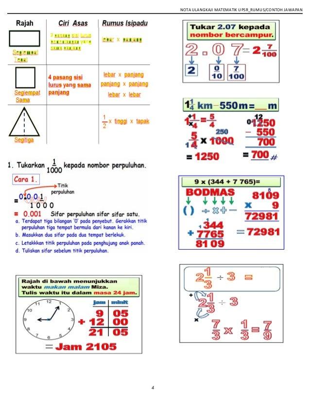 NOTA ULANGKAJI MATEMATIK UPSR_RUMUS/CONTOH JAWAPAN 4
