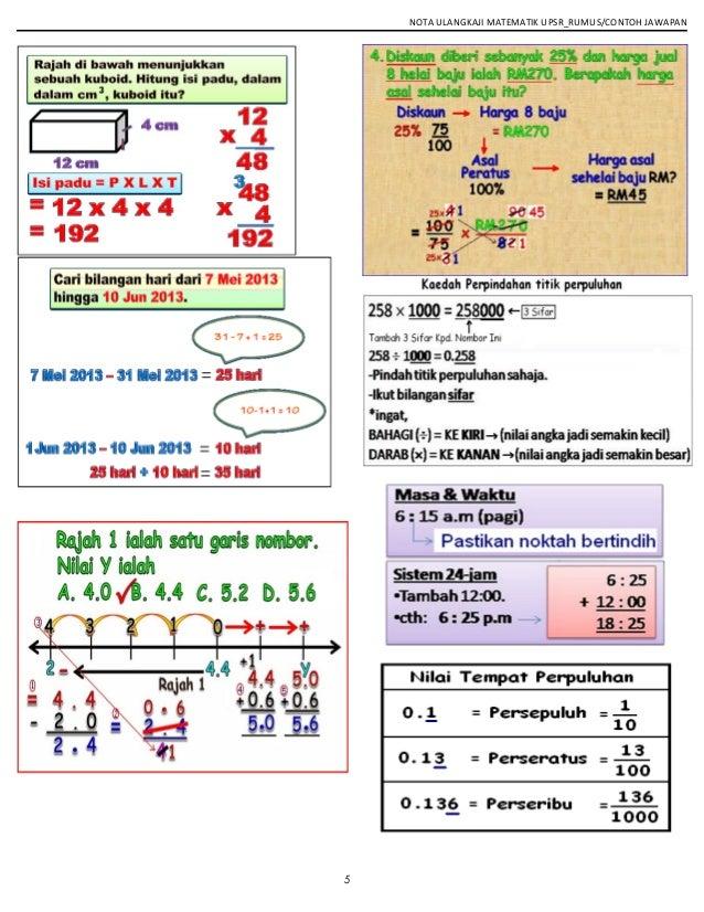 NOTA ULANGKAJI MATEMATIK UPSR_RUMUS/CONTOH JAWAPAN 5