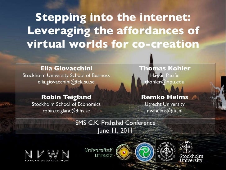 Stepping into the internet: Leveraging the affordances of virtual worlds for co-creation SMS C.K. Prahalad Conference June...