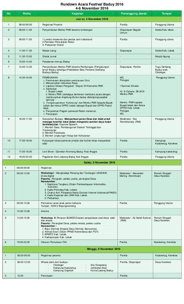 Rundown Acara Festival Baduy 2016 4-6 November 2016 No Waktu Kegiatan Penanggung Jawab Tempat Jum'at, 4 November 2016 1 08...