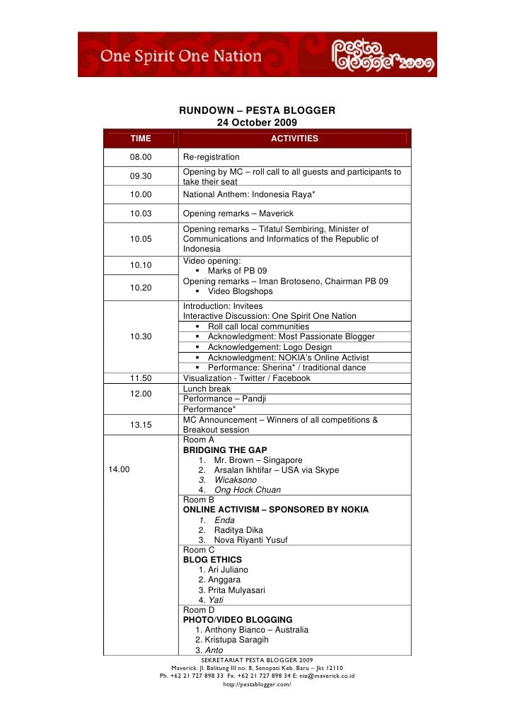 RUNDOWN – PESTA BLOGGER                            24 October 2009         TIME                                          A...