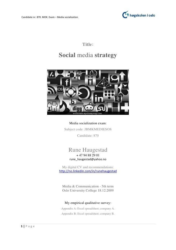 Candidate nr. 870. MOK. Exam – Media socialization.                                                      Title:           ...