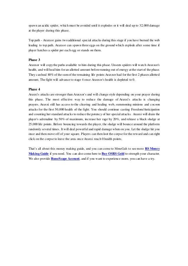 RuneScape Money Making Guide: Killing Araxxi
