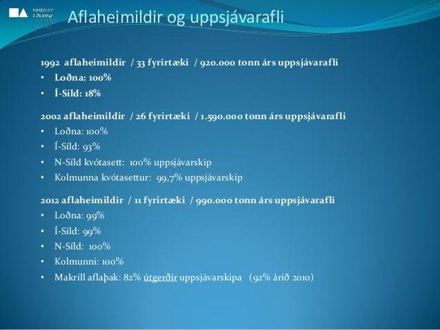 Aflaheimildir og uppsjávarafli 1992 aflaheimildir / 33 fyrirtæki / 920.000 tonn árs uppsjávarafli • Loðna: 100% • Í-Síld: ...