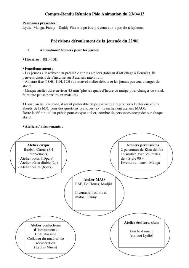 Compte-Rendu Réunion Pôle Animation du 23/04/13 Personnes présentes : Lydie, Manga, Fanny - Daddy Flex n'a pu être prévenu...