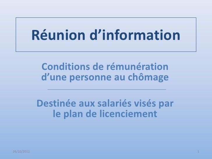 Réunion d'information              Conditions de rémunération              d'une personne au chômage             Destinée ...