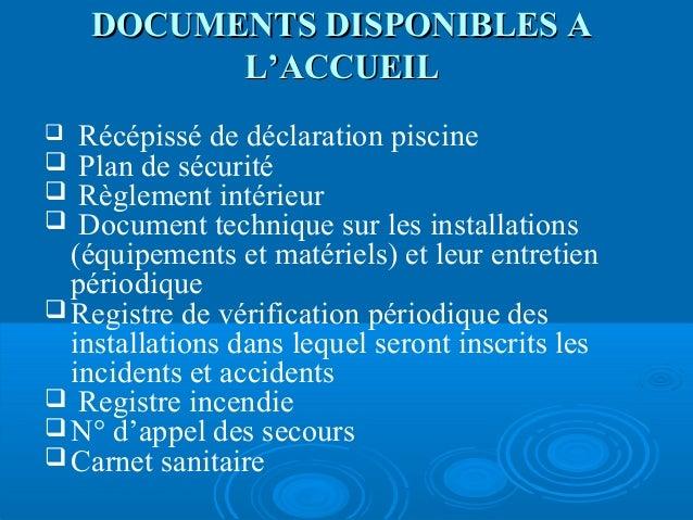 R union d 39 information les piscines privatives usage for Carnet sanitaire piscine
