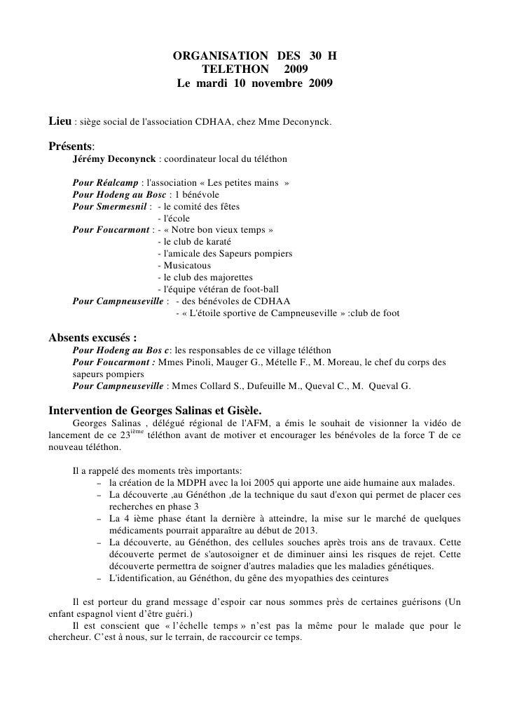 ORGANISATION   DES   30  H<br />TELETHON     2009<br />Le  mardi  10  novembre  2009<br />Lieu : siège social de l'associa...