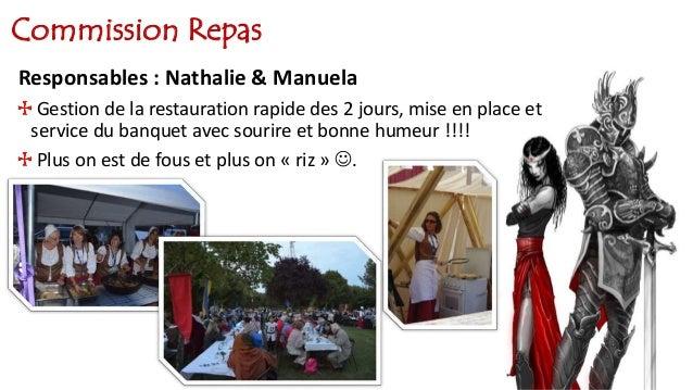 Commission Repas Responsables : Nathalie & Manuela Gestion de la restauration rapide des 2 jours, mise en place et service...