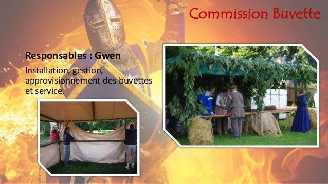 Commission Buvette Responsables : Gwen Installation, gestion, approvisionnement des buvettes et service.