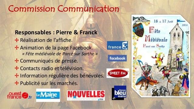 Commission Communication Responsables : Pierre & Franck Réalisation de l'affiche. Animation de la page Facebook. « Fête mé...