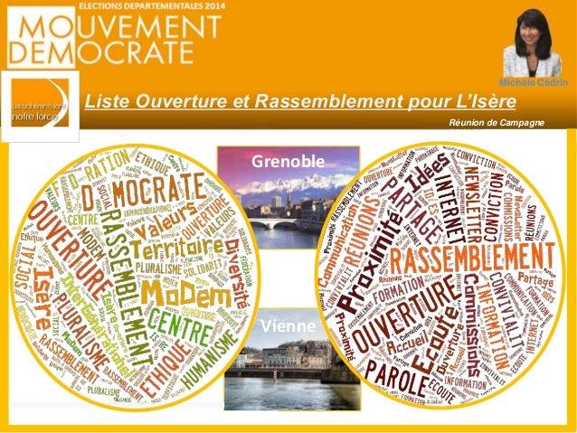 Michèle Cédrin  Liste Ouverture et Rassemblement pour L'Isère  Réunion de Campagne  22/11/2014  Grenoble  Vienne