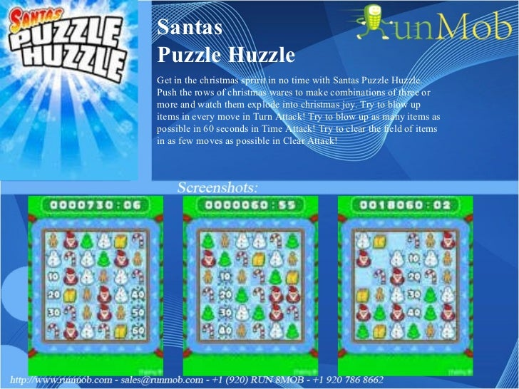 Santas Puzzle Huzzle Get in the christmas spririt in no time with Santas Puzzle Huzzle. Push the rows of christmas wares t...