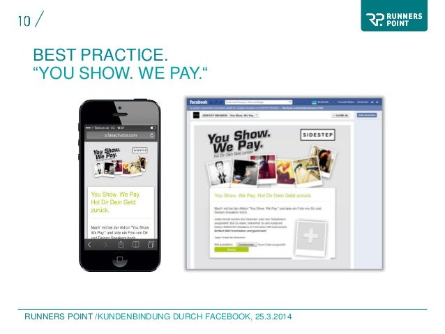 """RUNNERS POINT / BEST PRACTICE. """"YOU SHOW. WE PAY."""" KUNDENBINDUNG DURCH FACEBOOK, 25.3.2014"""