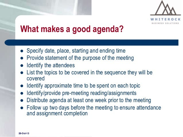 how to write an agenda for meeting