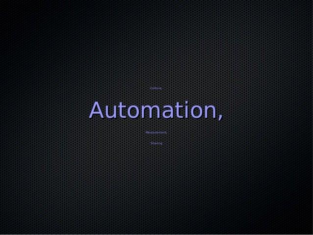 Culture,Culture, Automation,Automation, Measurement,Measurement, SharingSharing