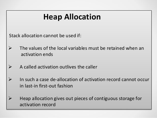 activation record in stack allocation