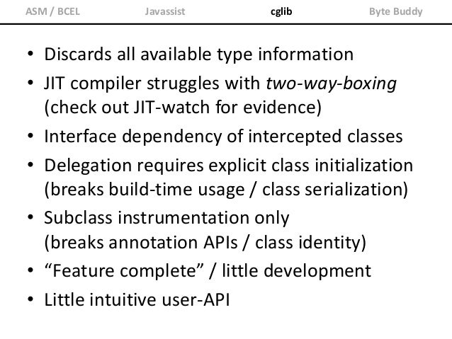 "ASM / BCEL Javassist cglib Byte Buddy Class<?> dynamicType = new ByteBuddy() .subclass(Object.class) .method(named(""toStri..."