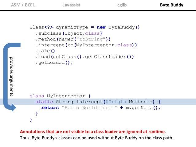 ASM / BCEL Javassist cglib Byte Buddy @Origin Method|Class<?>|String Provides caller information @SuperCall Runnable|Calla...
