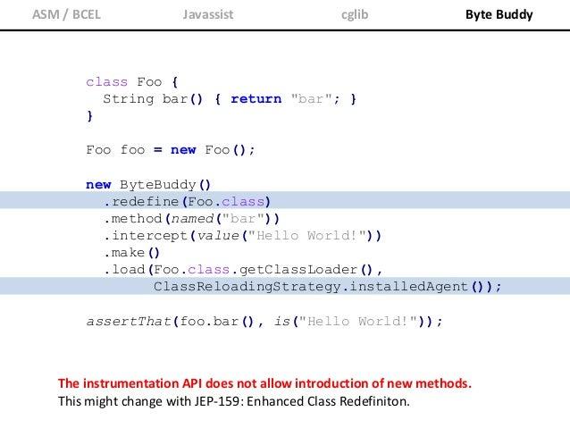 "class Foo { String bar() { return ""bar""; } } assertThat(new Foo().bar(), is(""Hello World!"")); public static void premain(S..."