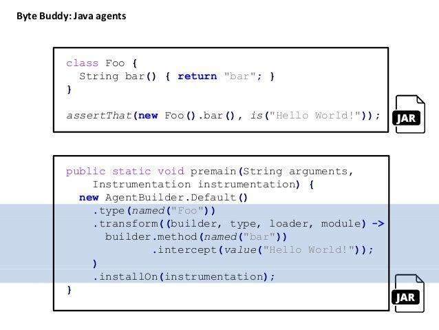 class TimerAdvice { @OnMethodEnter static long enter() { return System.nanoTime(); } @OnMethodExit static void exit(@Enter...