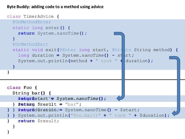 """class Foo { String bar() { return """"bar""""; } } System.out.println(new Foo().bar()); public static void agentmain(String argu..."""