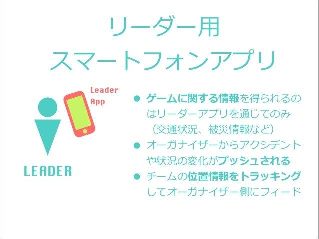 リーダー⽤用 スマートフォンアプリ Leader App  • ゲームに関する情報を得られるの はリーダーアプリを通じてのみ (交通状況、被災情報など)  • オーガナイザーからアクシデント LEADER  や状況の変化がプッシュされる  • ...