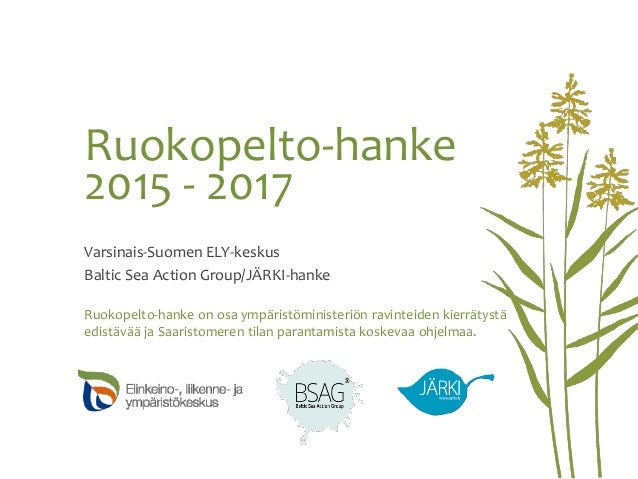 Ruokopelto-hanke 2015 - 2017 Varsinais-Suomen ELY-keskus Baltic Sea Action Group/JÄRKI-hanke Ruokopelto-hanke on osa ympär...