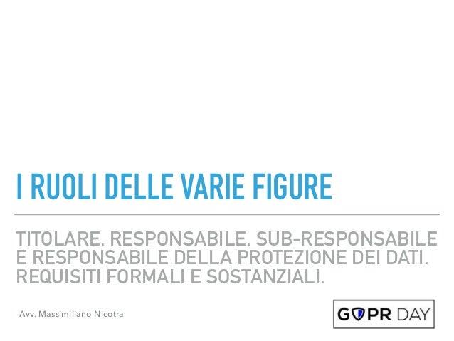 TITOLARE, RESPONSABILE, SUB-RESPONSABILE E RESPONSABILE DELLA PROTEZIONE DEI DATI. REQUISITI FORMALI E SOSTANZIALI. I RUOL...