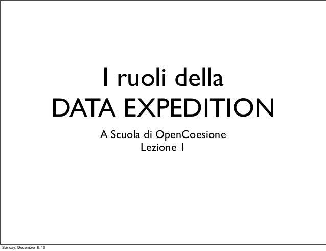 I ruoli della DATA EXPEDITION A Scuola di OpenCoesione Lezione 1  Sunday, December 8, 13