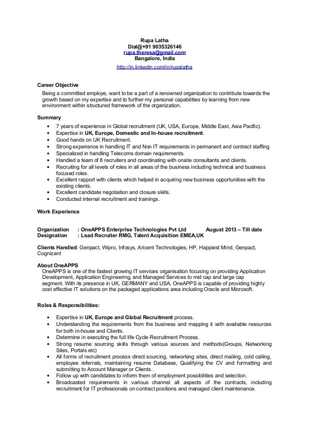 emea europe uk recruiter cv